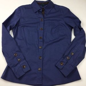 Boden Navy Blue Long Sleeves Button Front Shirt